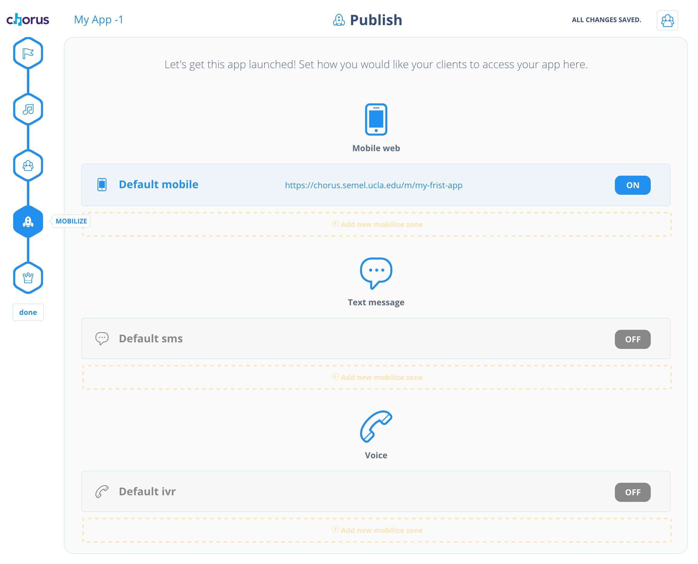 Publishing your app – Chorus