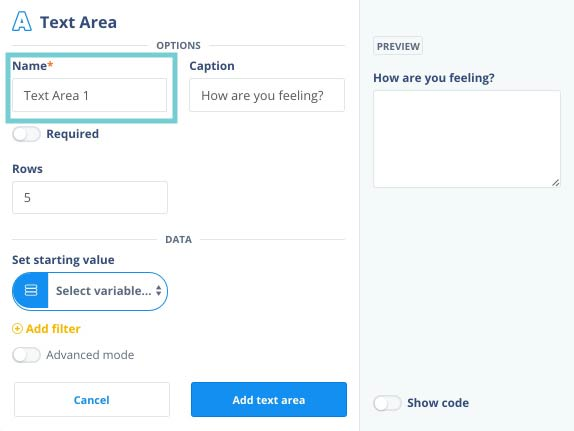 Adding a text input field or area – Chorus